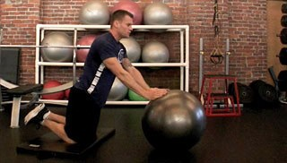 stability ball roll outs - step 1