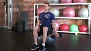 stability ball seated bicep curl - step 1