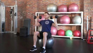 stability ball shoulder press - step 1