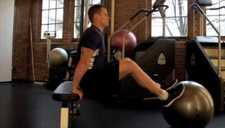 stability ball tricep dips - step 1
