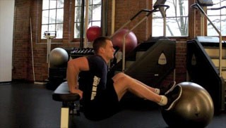 Picture of a male doing Stability Ball Tricep Dips Exercise