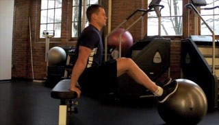 stability ball tricep dips - step 3