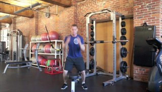 straddle jump ups on bench - step 3
