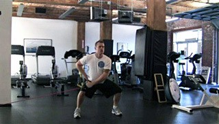 sumo squat reverse fly - step 1