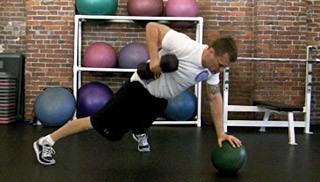 three point dumbbell row on medicine ball - step 2