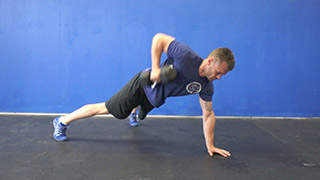Picture of a male doing Three Point Dumbbell Row Exercise
