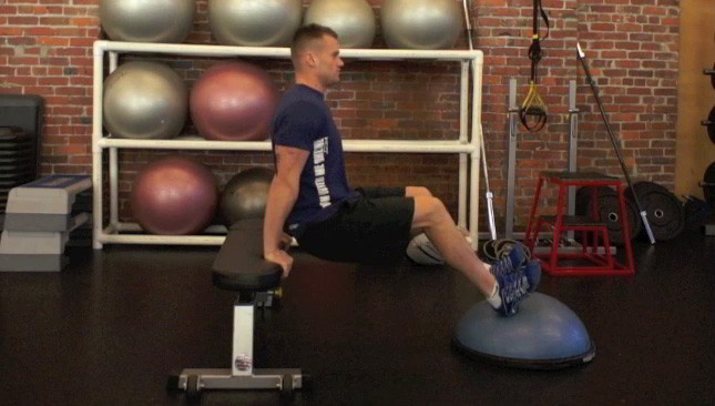 tricep dips with bosu - step 1