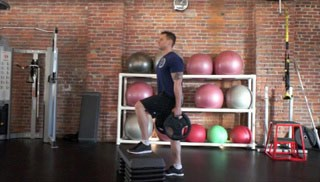 weight plate step-up knee drives - step 1