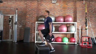 weight plate step-up knee drives - step 3