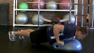 weighted bar push-up knee tuck - step 2