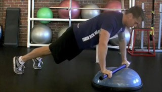 weighted bar push up - step 1